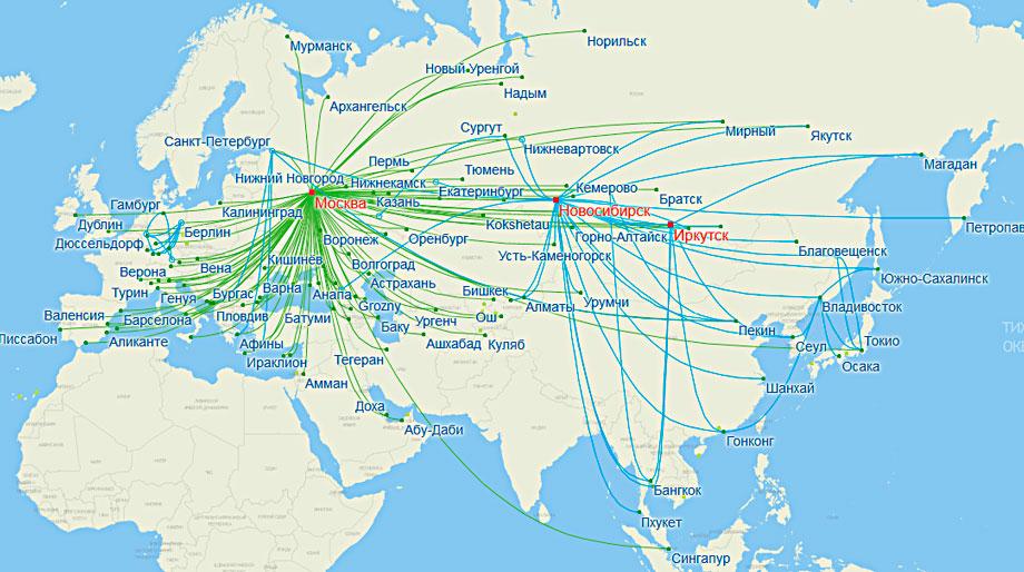 карта рейсов S7