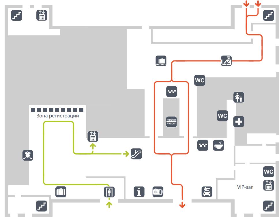 Схема первого этажа терминала C (МВЛ) аэропорта Гумрак