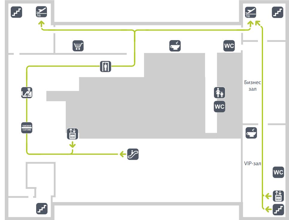 Схема второго этажа терминала C (МВЛ) аэропорта Гумрак