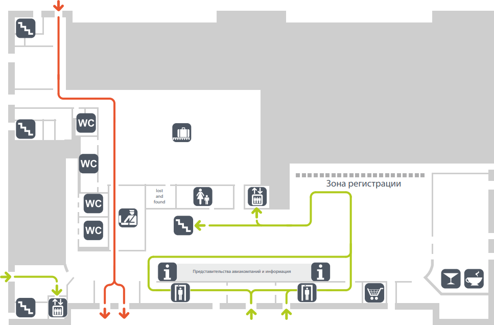 Схема первого этажа терминала C2 аэропорта Гумрак