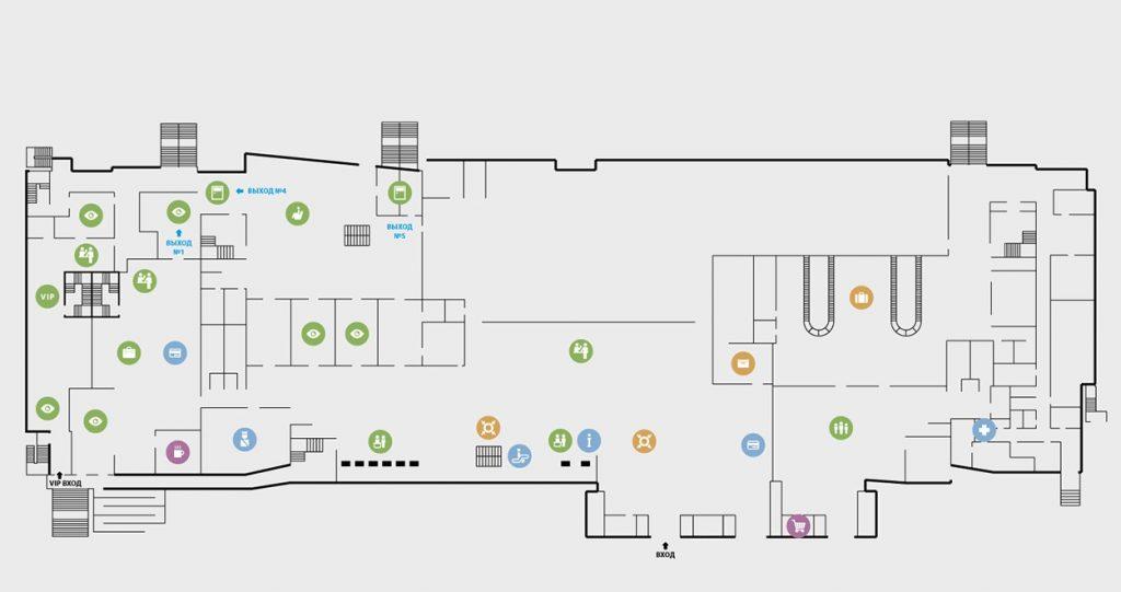 Схема 1 этажа аэропорта Якутск