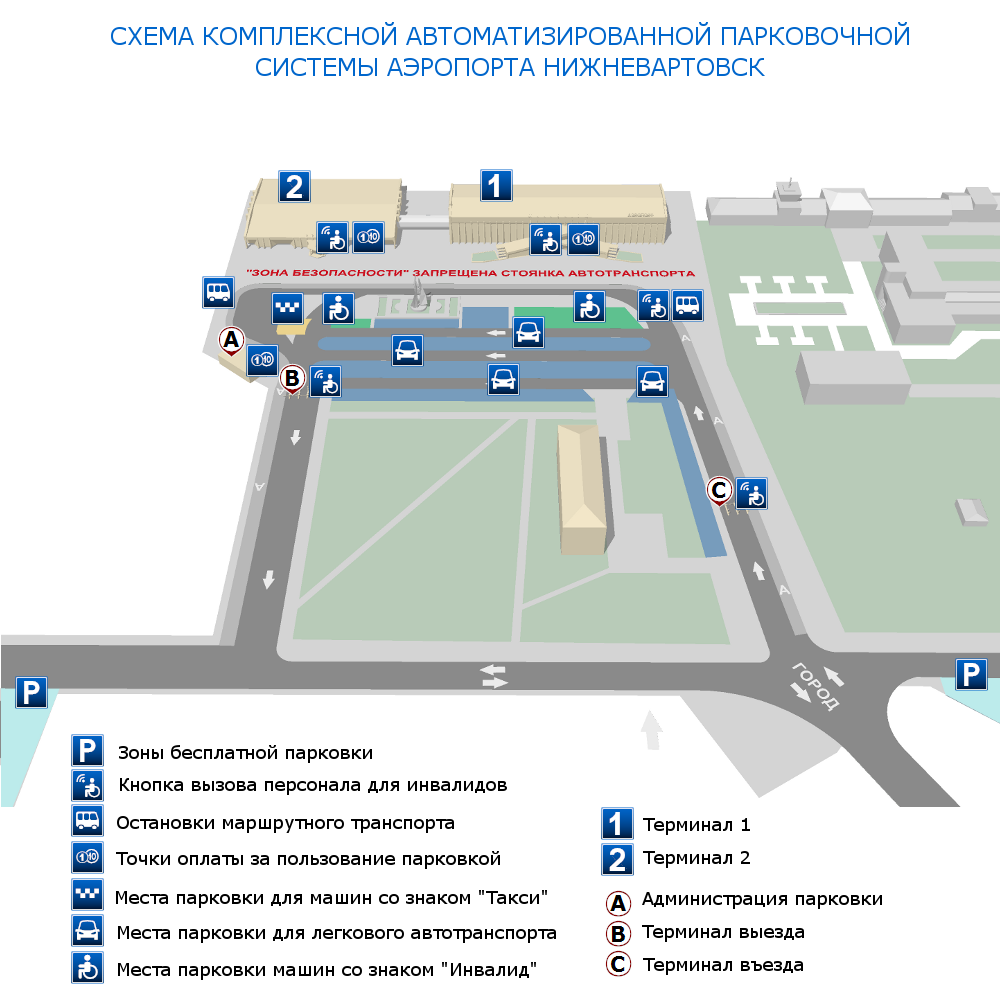 Схема парковки аэропорта Нижневартовск