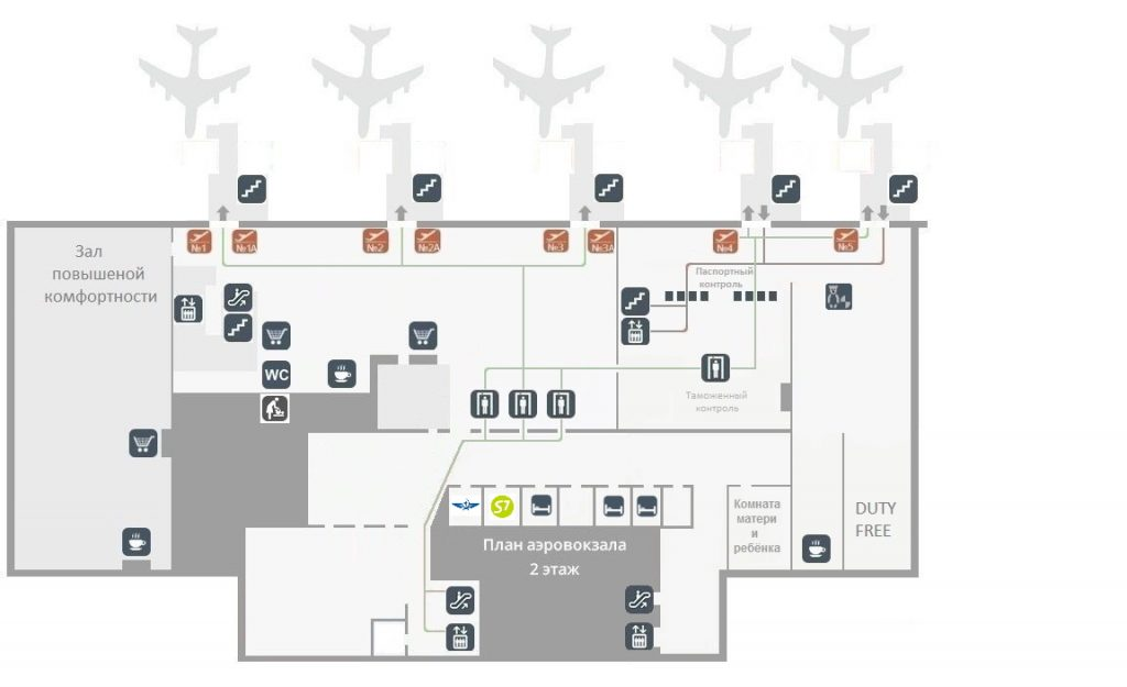Схема 2 этажа аэропорта Тюмень (Рощино)